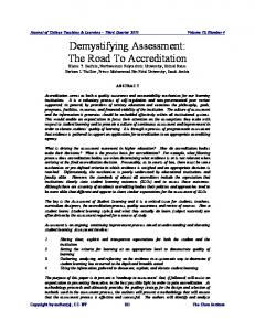 Demystifying Assessment: The Road To Accreditation - ERIC