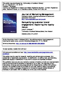 Demystifying Customer Brand Engagement: Exploring the Loyalty ...