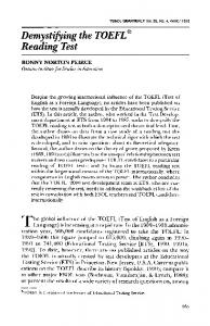 Demystifying the TOEFL reading test - Faculty of Education, UBC