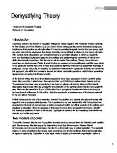 Demystifying Theory - University of Greenwich Journals and Working ...