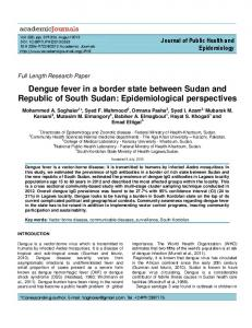 Dengue fever in a border state between Sudan ... - Academic Journals