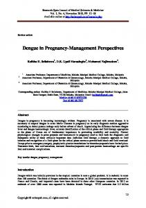 Dengue in Pregnancy-Management Perspectives