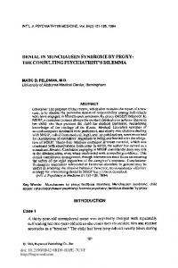 Denial in Munchausen Syndrome by Proxy: The Consulting ...