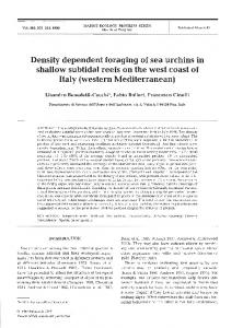 Density dependent foraging of sea urchins in shallow ... - Inter Research