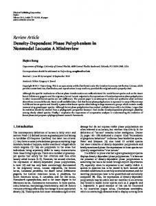 Density-Dependent Phase Polyphenism in Nonmodel Locusts: A