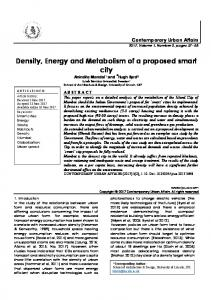 Density, Energy and Metabolism of a proposed smart city / journal of contemporary urban affairs (JCUA)