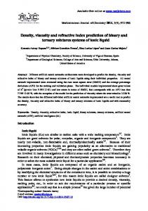 Density, viscosity and refractive index prediction of binary and ...