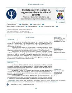 Dental anxiety in relation to aggressive characteristics of patients