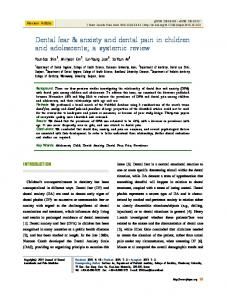 Dental fear & anxiety and dental pain in children and ... - JDAPM