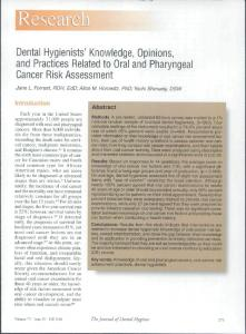 Dental Hygienists' Knowledge, Opinions, and ...
