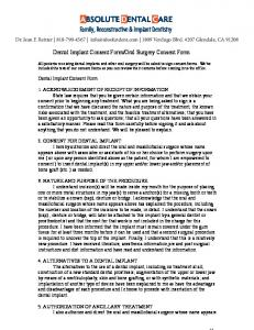 Dental Implant Consent Form / Oral Surgery Consent Form