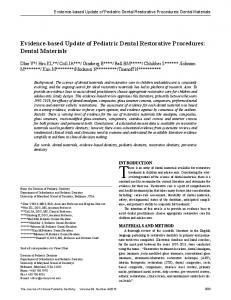 Dental Materials - Journal of Clinical Pediatric Dentistry