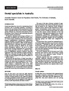 Dental specialists in Australia - Wiley Online Library