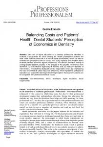 Dental Students' Perception of Economics in Dentistry