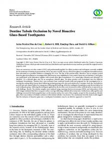 Dentine Tubule Occlusion by Novel Bioactive Glass-Based Toothpastes