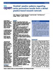 Dentists' practice patterns regarding caries prevention - BioMedSearch