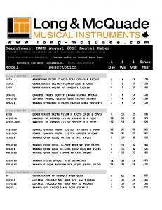 Department: BAND August 2013 Rental Rates - Long & McQuade