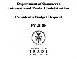 Department of Commerce International Trade Administration ...