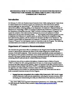 Department of Commerce Recommendations on Cybersecurity - NTIA