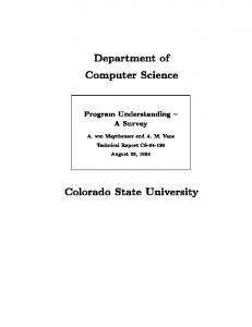 Department of Computer Science Colorado State ...