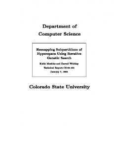Department of Computer Science Colorado State University