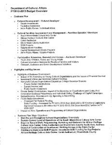 Department of Cultural Affairs FY2012-2013 Budget Overview
