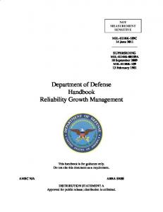 Department of Defense Handbook Reliability Growth Management