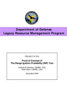 Department of Defense Legacy Resource ...