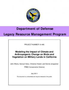 Department of Defense Legacy Resource Management ... - DENIX