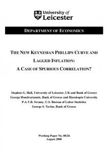 department of economics the new keynesian phillips curve and lagged ...