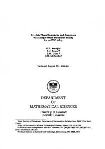 department of mathematical sciences - University of Delaware