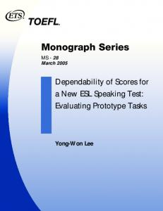 Dependability of Scores for a New ESL Speaking Test - ETS