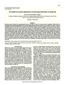 dependence of burrowing kinematics on body size - Journal of ...