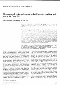 Dependence of postjuvenile moult on hatching date, condition and sex ...