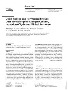 Depigmented and Polymerised House Dust Mite ...