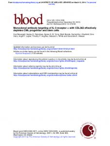 depletes CML progenitor and stem cells with