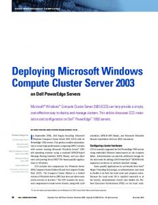 Deploying Microsoft Windows Compute Cluster Server 2003 on Dell ...
