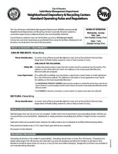 Depository Rules and Regulations - Houston - City of Houston