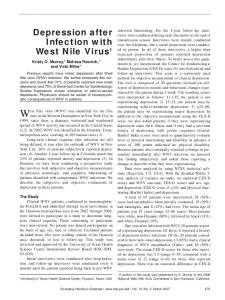 Depression after Infection with West Nile Virus1 - Centers for Disease ...