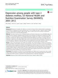 Depression among people with type 2 diabetes mellitus, US National