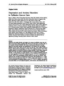 Depression and Anxiety Disorders in Palliative Cancer Care