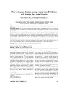 Depression and Burden among Caregivers of Children ... - ThaiScience