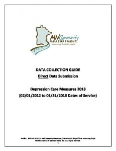 Depression Care Measures 2013 Direct Data Submission