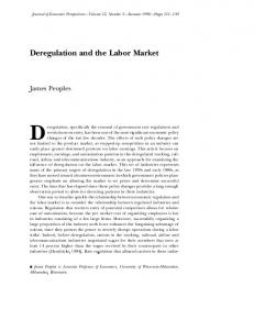 Deregulation and the Labor Market - American Economic Association