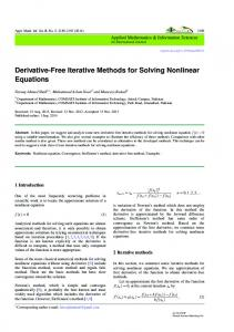 Derivative-Free Iterative Methods for Solving Nonlinear Equations