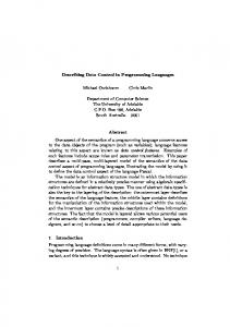 Describing Data Control in Programming ... - Semantic Scholar