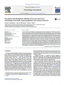 Description and phylogenetic affinities of two new ...