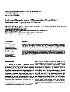 Design and Characterization of Nanostructure Topical Gel of ...