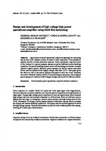 Design and development of high voltage high power operational ...