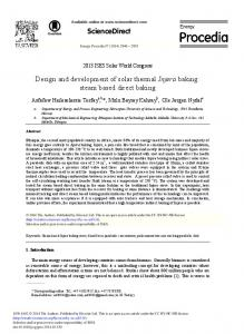 Design and Development of Solar Thermal Injera Baking ... - Core